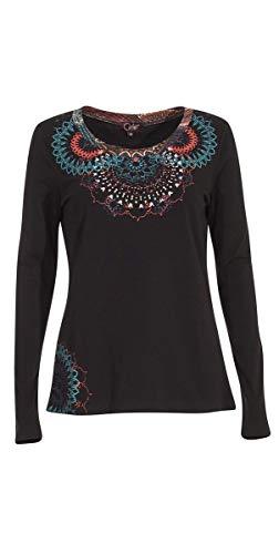 Coline - Tee Shirt Hiver imprimé - Couleur : Noir - Taille : L