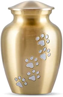 Best Friend Services Pet Urn - Ottillie Paws Memorial Pet Cremation Urns for Dogs and Cats Ashes Hand Carved Brass Memory ...
