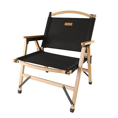 Silla de camping, diseño plegable de material de madera maciza con bolsa de almacenamiento Sillas de césped Muebles de jardín para fiesta de barbacoa