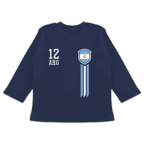 Fußball-Europameisterschaft 2020 - Baby - 12. Mann Argentinien Fanshirt - 18/24 Monate - Navy Blau - Trikot argentinien - BZ11 - Baby T-Shirt Langarm