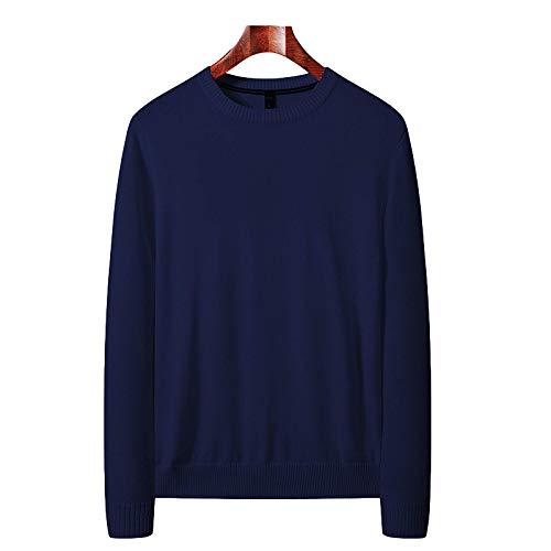 Suéter Ajustado para Hombre, Jersey de Cuello Redondo de Color Liso, Primavera y otoño, Camisetas de Jersey de Manga Larga Informales Simples 3X-Large