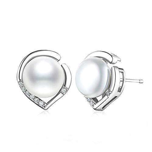 Cestbon Perlen Ohrringe Damen 925 Sterling Silber Ohrstecker Ohrschmuck Süßwasserperlen Herzsprache Set Schmuck, Weiß