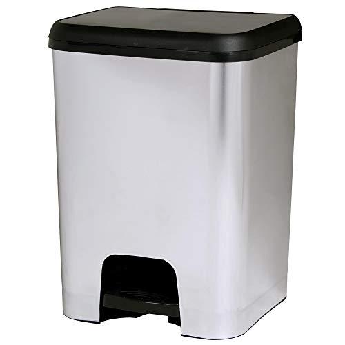 TODO HOGAR - Cubo de Basura de Apertura con Pedal (26 litros) - Fabricado en Polipropileno (Metalizado)