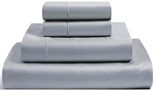 100% Egyptian Cotton Sheets Hotel Quality Combed Mercerized 1000 Thread Count Long Lasting 15-inch-deep Pockets Bedding Queen Silver Set Smooth & Silky Sateen,Fit Technology Oeko Tex Green Certified