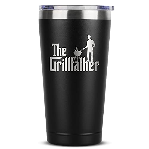 Grilling Gifts for Men - BBQ Present for Man - The GrillFather 16 oz Black Tumbler w/Lid - Great Addition to a Grill Smoking Tool Set Accessories or Seasoning Spice Rub Sets - Cooking Gift for Dad
