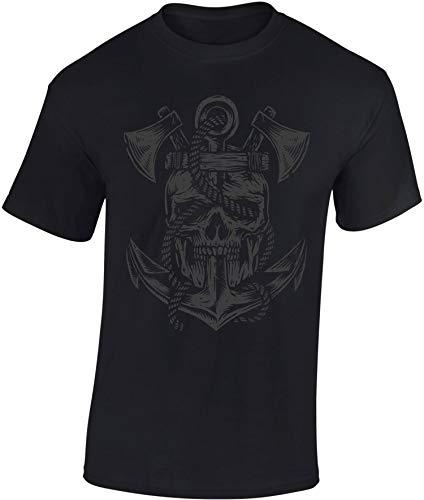 T-Shirt: Hades Crew - Totenkopf Axt Anker - Skull Death Tod Bones - Rock-er Gothic Bike-r Black Metal - Werkstatt Kapitän Seemann - Gamer Shirt - Wikinger Viking-s Odin - Schwarz - Legend-e (S)