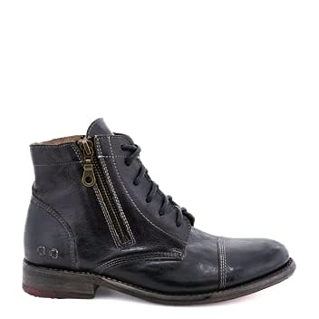 Bed|Stu Bonnie Women's Distressed Leather Lace Up Boot - Short Combat Ankle Bootie, Size 9, Black Rustic