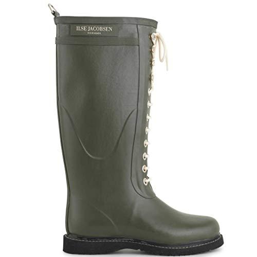 Ilse Jacobsen Damen Gummistiefel | Schuhe aus 100% Natur Bio Gummi | garantiert PVC frei | Lange Stiefel mit Schnürsenkel aus 100% Baumwolle | RUB1 Grün 41 EU