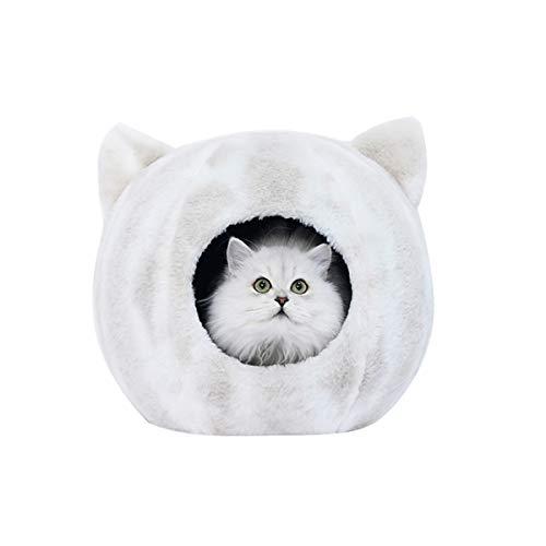 Groot Kattenbed Cave Hondennestbed Winter Warm Zacht Kattenhuis Met Verwijderbaar Kussen Kleine Honden Hondenbedden Binnenshuis, Wit