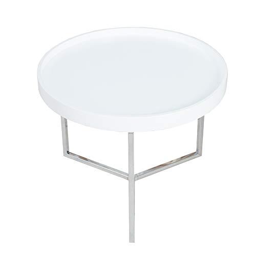 Invicta Interior Extravaganter Couchtisch MODULAR 60 cm weiß Chrom rund inkl. Tablett Beistelltisch Holztisch