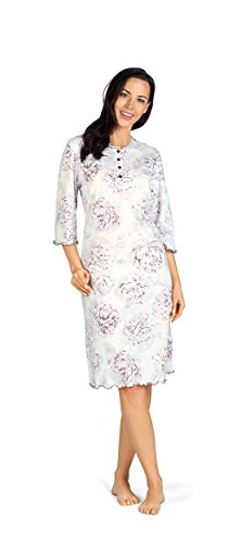 Comtessa Premium Damen Nachthemd Knopfleiste 100% Baumwolle halber Arm Weiß Violett Gr. 44-46 L