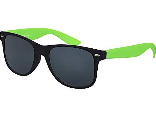 Balinco Hochwertige Nerd Sonnenbrille Rubber im Retro Stil Vintage Unisex Brille mit Federscharnier - 96 verschiedene Farben/Modelle wählbar (Grün/Schwarz - Smoke)