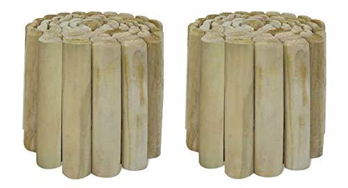 Bordura di Recinzione in Legno. Confezione da 2 Pezzi. Mini Steccato per Aiuole. Cm 200 x H40