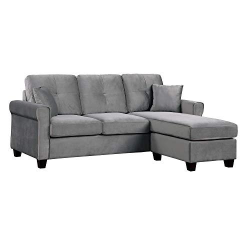 Lexicon 83-Inch Velvet Reversible Sofa Chaise, Gray
