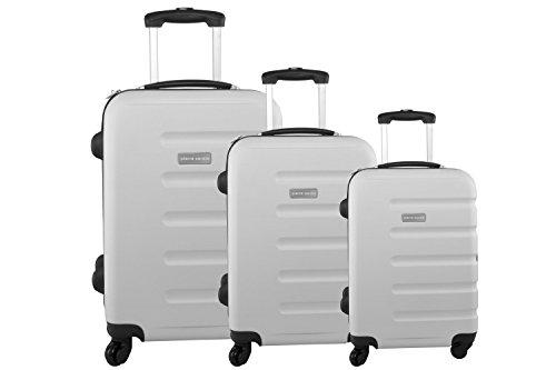 Set valigie trolley rigido 3 pezzi PIERRE CARDIN bianco da viaggio S298