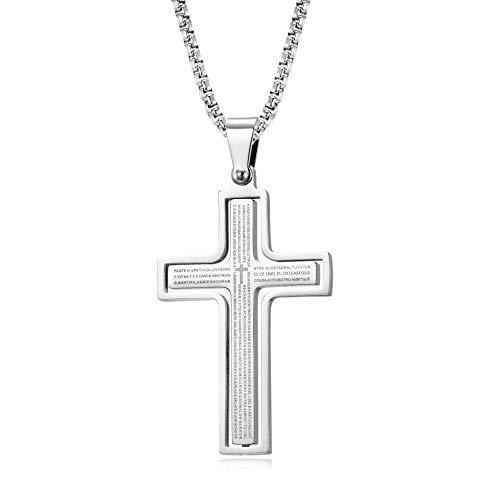 Collares Para Mujer Pasaje De Letras De Jesús De Acero De Titanio Cross Partida Partida Pendiente-Q