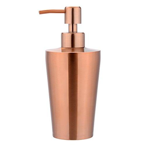 sourcing map Distributeur Savon Liquide Chambre Salle Bains Toilette Pompe Appuyez Bouteille 350ml Rose Or Acier INOX