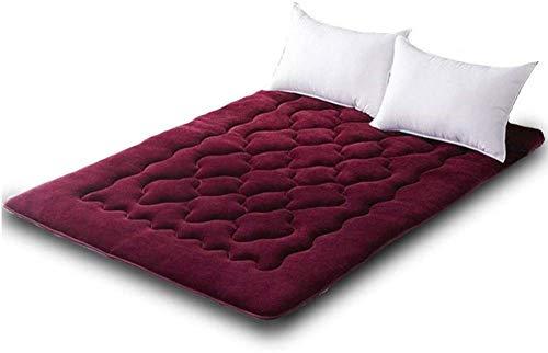 zyl Doppel-einzelboden Matratze Japanisch,studentenwohnheim Falt-matratze,futon Bodenmatratze,weiche Und Atmungsaktive Tatami Falten Futon,WineRed-90x200cm