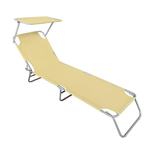 Mediawave Store - Tumbona plegable 2309P con respaldo ajustable y toldo parasol, tumbona para camping, tumbona...
