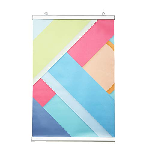 "DISPLAYSWORKER Banner Rails 48"" Aluminum Poster Hanger Metal Poster Frame for Poster Map Photo Drawing Decorative Picture,Wall and WindowCeiling Hanging …"