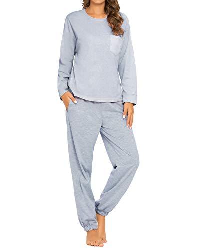 GOSO  Schlafanzug Damen Pyjama Set Zweiteilige Nachtwäsche Langarm Hausanzug Top und...