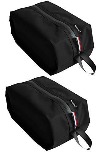 Hocaies Porta Scarpe da Viaggio Impermeabile Multi-Funzione Sacchetti Scarpe in Nylon Borse per Scarpe Leggero e Resistente con Zip e Manico(2 Pezzi). (Nero)