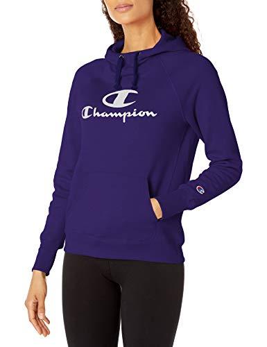 Champion Women's Powerblend Fleece Hoodie, Double Logo, Violet Stone-586136, X-Small