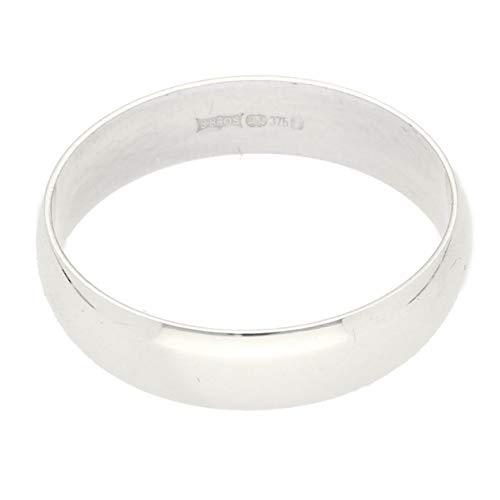 Heren Ring Band   9Carat Wit Goud D-Vorm Bruiloft Band (Maat W) 5mm Breedte   Een van een Kind Sieraden
