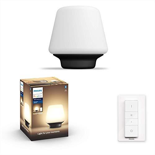 Philips Hue White Amb. LED-Tischleuchte Wellner inkl. Dimmschalter, schwarz, dimmbar, alle Weißschattierungen, steuerbar via App, kompatibel mit Amazon Alexa (Echo, Echo Dot)