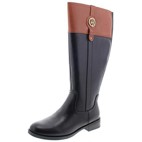 Tommy Hilfiger Womens Imina 3 Faux Leather Riding Boots Black 9.5 Medium (B,M)