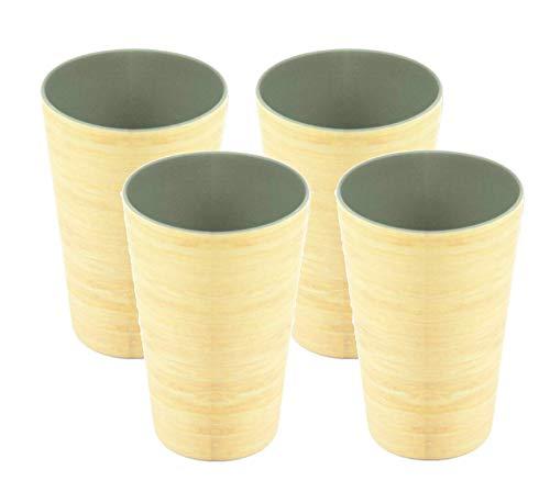 AMTNATURE Set de 4 Vasos de bambú con capacidad de 350ml. Juego...