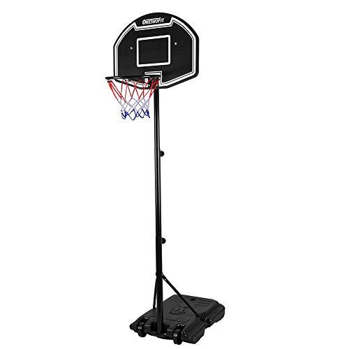 ONETWOFIT OT132 sistema de baloncesto portátil de altura ajustable, tablero de 28 pulgadas
