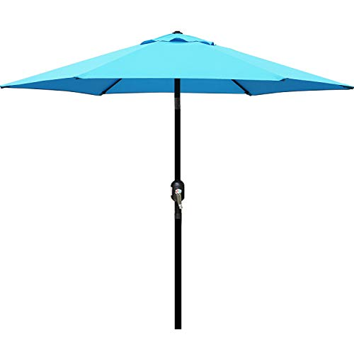 Blissun 7.5 ft Patio Umbrella with Fringe, Yard Umbrella Push Button Tilt Crank (Light Blue)