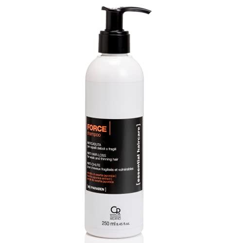 Essential Haircare - Shampoing Force - Traitement Anti-Chute Professionnel pour Cheveux Cassants, Fins, Abîmés et Fragiles Hommes et Femmes - 250 ml