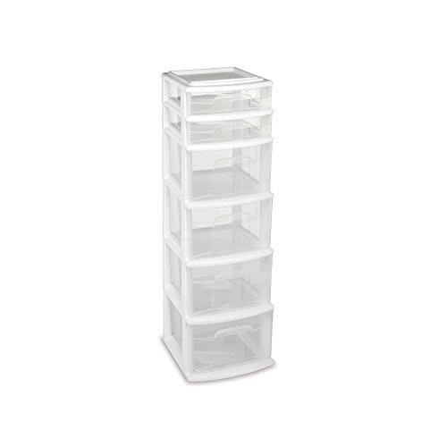 HOMZ Plastic 6 Drawer Medium Storage Tower White Frame Clear Drawers Set of 1