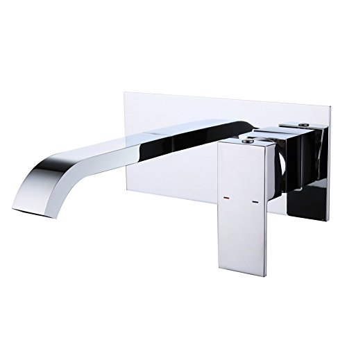 CREA Unterputz Wandarmatur, Wandmontage Badarmatur, Wasserhahn mit Wasserfall, 2-Loch-Waschtischarmatur, Wand Armatur für Bad, Chrom