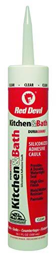 Red Devil 0408 Duraguard Kitchen & Bath Siliconized Acrylic Caulk, 10.1 oz, Clear