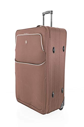 "Large 29"" Super Lightweight 2 Wheeled Suitcase Trolley Luggage Hold Bag - U660 (Brown)"