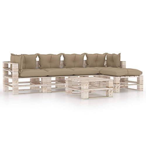 vidaXL - Paleta de 6 cojines de madera de pino para muebles de jardín, muebles de terraza muebles de patio