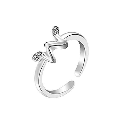 Janly Clearance Sale Anillos para mujer, 26 letras inglesas, diseño de letras artísticas, combinación de diamantes de regalo, conjuntos de joyería, día de San Valentín (Ancho)