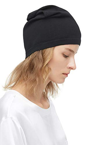 LilySilk 100% Silk Knitted Slouchy Beanie Breathable Thin Women Men Stretch Skull Cap Soft Comfortable (Black, Normal Women Size)