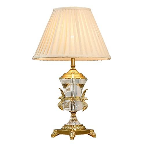 Lámpara de mesa de noche Lámpara de mesa de lujo nórdico tallado latón águila cristal decorativo lámpara de mesa sala de estar estudio dormitorio noche lámpara de noche interruptor de noche luz de noc