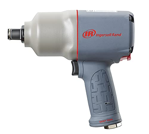"""Ingersoll Rand 2145QiMAX 3/4"""" Drive Air Impact Wrench – Quiet Technology, 1,350 ft-lbs Powerful Reverse Torque Output, 7 Vane Motor, Steel Hammer Case, Gray"""