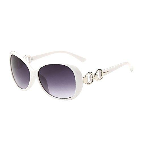 Transwen - Gafas de sol unisex a la moda para mujer, con cristales UV, montura clásica, doble anillo, decoración, gafas de conducción 2019