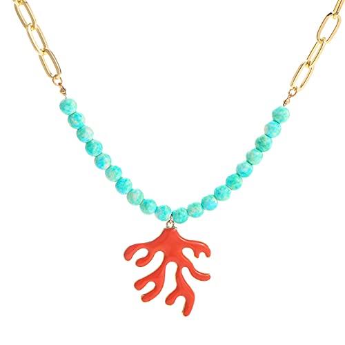 Collar De Cadena De Piedras Verdes De Cuentas De Moda, Colgante De Encanto De Coral De Aleación,Joyería DeCuello Hecha A Mano Para Mujer