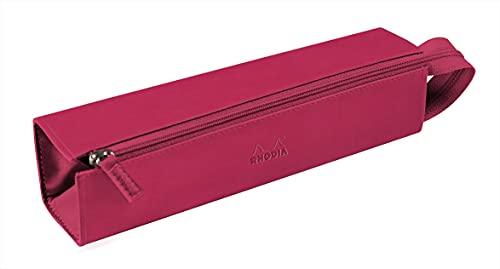 Rhodia 319022C – Estuche de plumero de rodio – 23 x 5 cm – Apertura plana para usar como plumero – piel sintética – Almacena bolígrafos, lápices y rotuladores, pequeños suministros