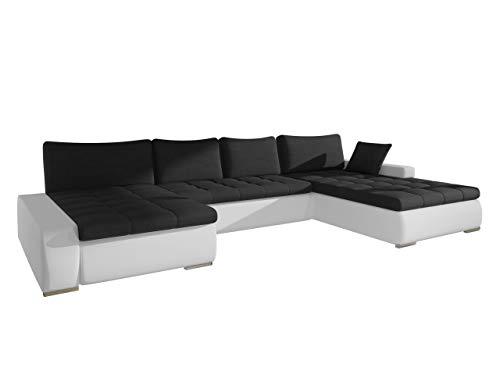 Großes Design Ecksofa Caro, Elegante U-Form Couch Eckcouch mit Bettkasten und Schlaffunktion Couchgarnitur Schlafsofa Farbauswahl Bettsofa für Wohnzimmer Wohnlandschaft (Soft 017 + Casablanca 2316)