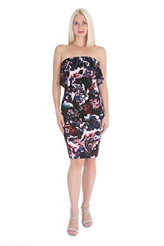 bebe Women's Strapless Ruffle Popover Printed Scuba Bodycon Dress Lavender 8