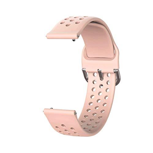 LLMXFC Banda de Reloj de Silicona Suave de 20 mm para Huawei Honor Watch ES Strap Strap Pulsera Pulsera Pulsera para la Pulsera de Venu Garmin Nuevo (Band Color : Pink, Band Width : 20mm)