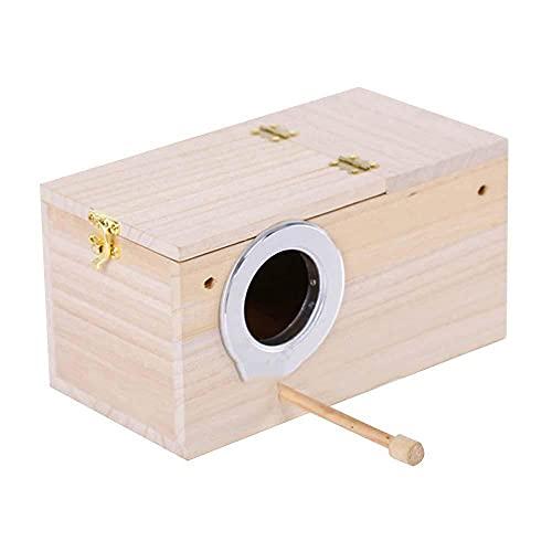 FeiKe Caja Duradera para Periquitos De Madera Caja De Nido para Mascotas, Casa De Pájaros Apareamiento Hogar Hogar Seguro Y Estable Hogar De Pájaros,S